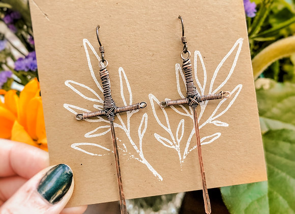 Copper Sword Earrings (made to order)
