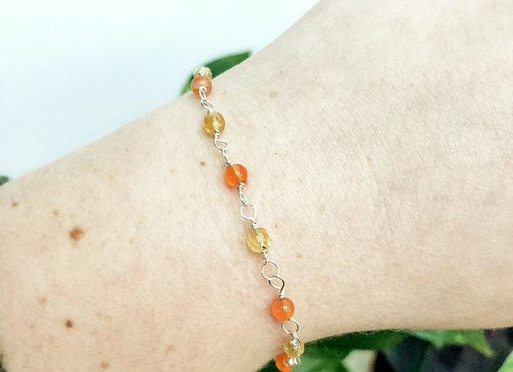 Carnelian and Citrine Bead Chain Bracelet