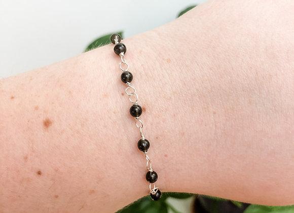 Obsidian Bead Chain Bracelet