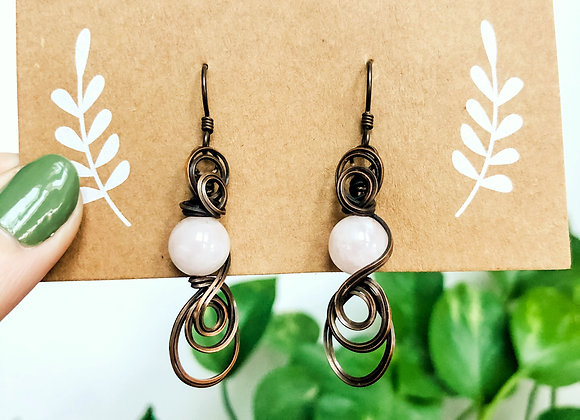Swirly Rose Quartz Earrings