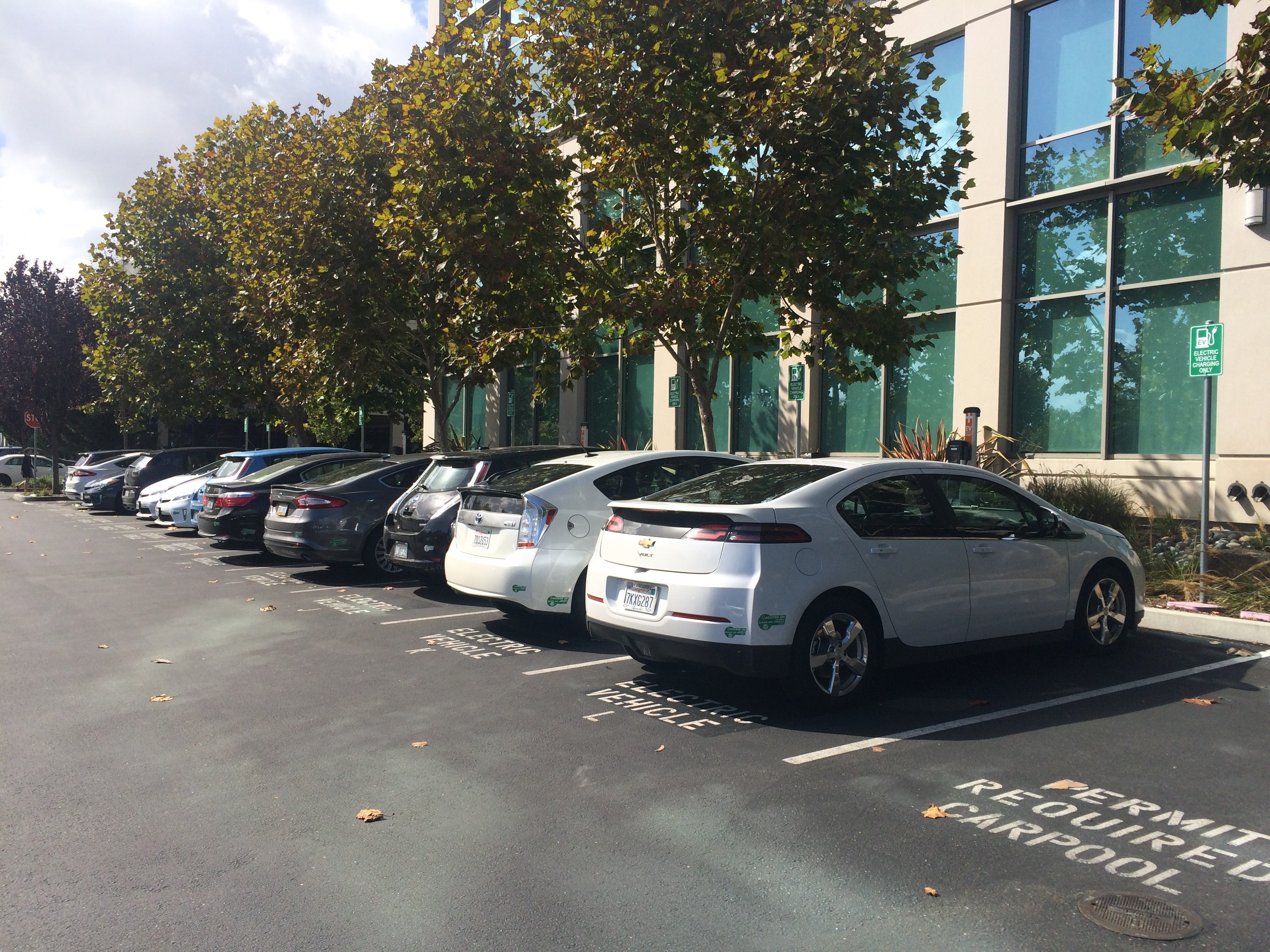 Employee EV parking in Sunnyvale, CA