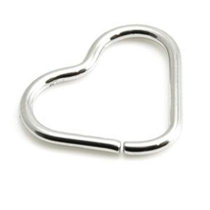 Side Open Steel Heart Ring