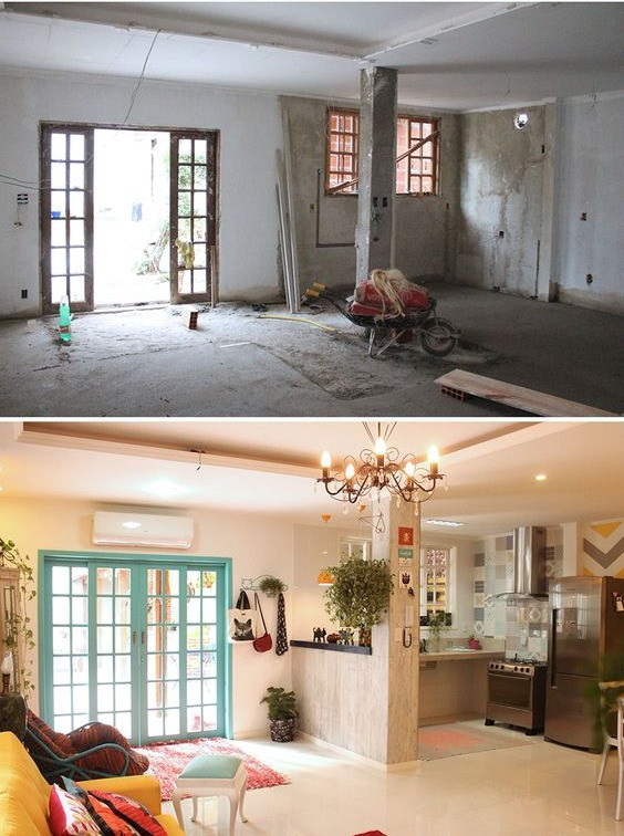 Antes e depois da reforma de uma sala e cozinha em conceito aberto.