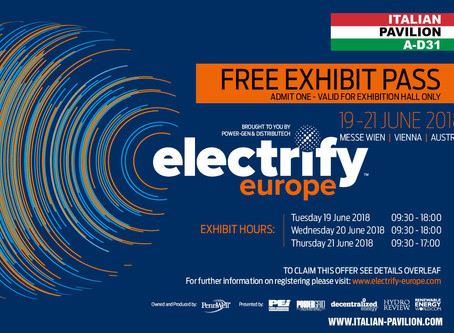 Electrify Europe 2018 formely Power-Gen Europe - Vienna, Austria, 19-21 giugno
