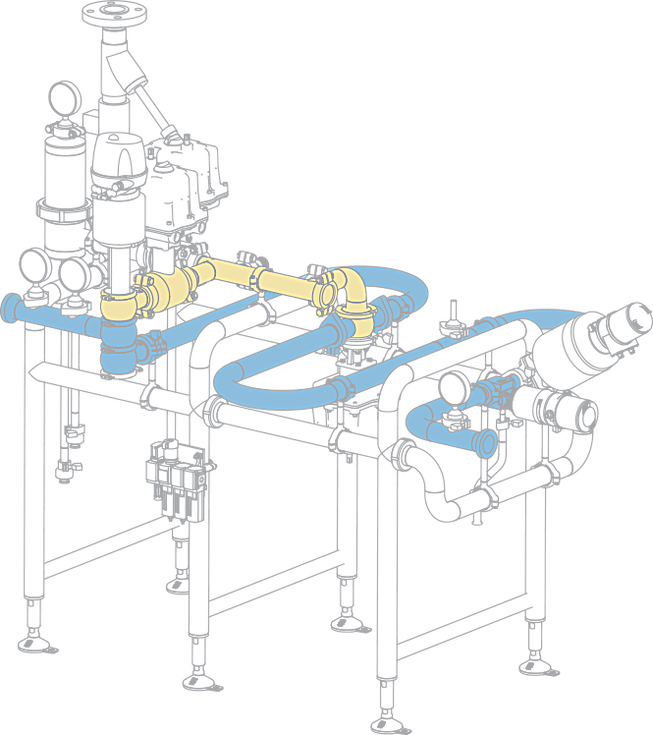 The hygienic design of the SilverLine food and beverage processing system includes both food and steam pathways.