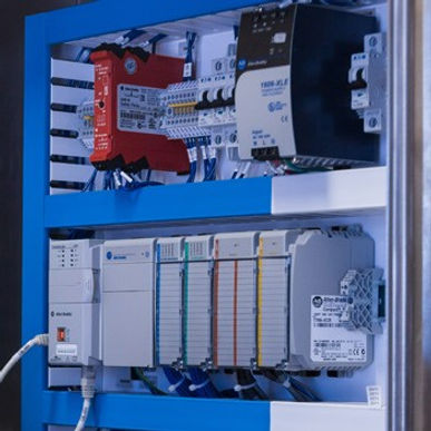 The programmable logic controller is the brains of the SilverLine food and beverage cooking system