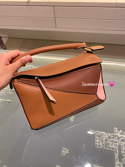 Loewe small puzzle in tan / pink