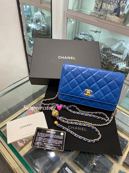 Chanel wallet on chain with gold ball