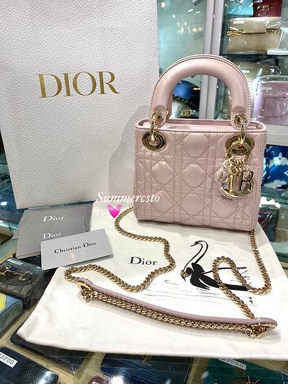 Dior mini lady 4 格粉色