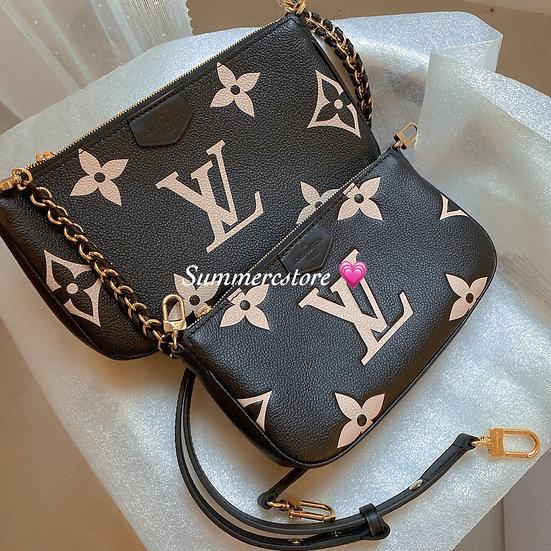 Louis Vuitton 5 合一 ( 黑色拉杏色logo )