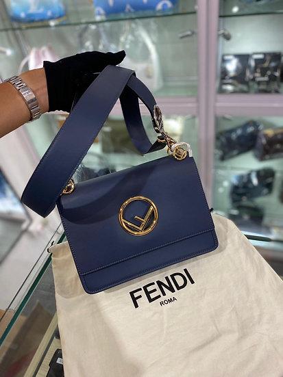 Fendi big size leather bag in blue