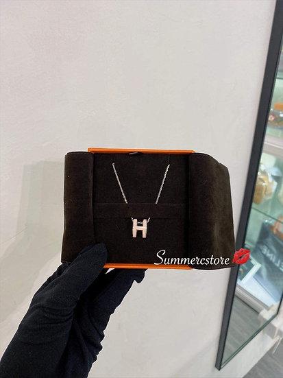 Hermes粉色大H頸鏈