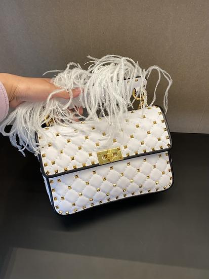 Valentino 白色中號 stud bag