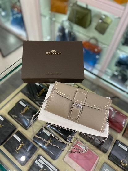 Delvaux wallet on chain 灰色 代購