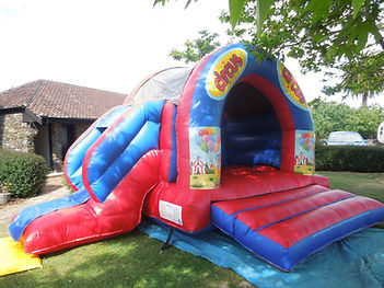 Blue & Red Bouncy Castle with Slide