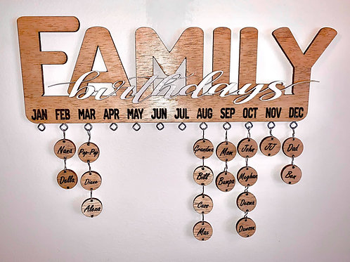 Engraved tags-Handmade laser cut family birthday calendar