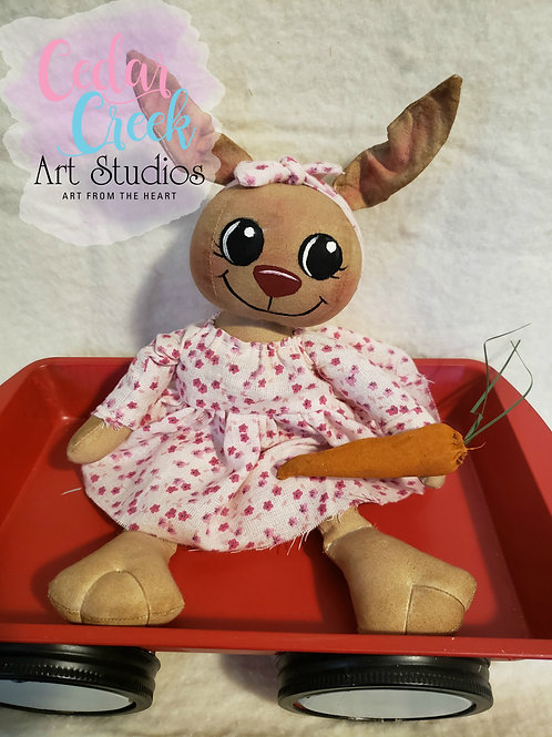 Folk Art Bunny with round head and carrot