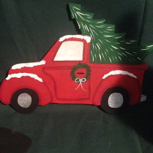 Hand-Painted Little Red Truck with Christmas Tree wreath enhancement/Door hanger