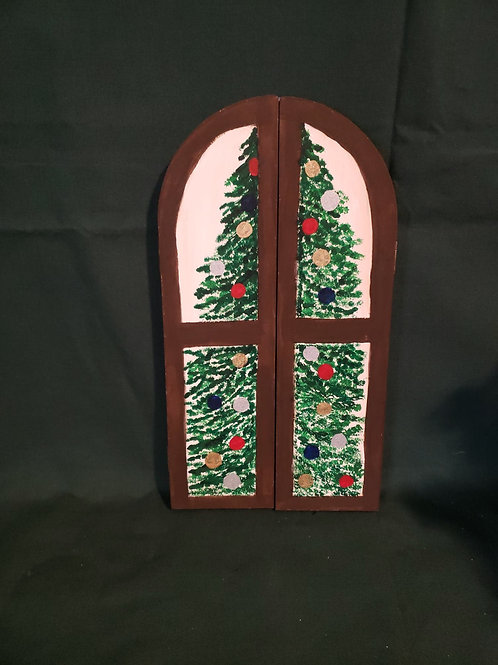 Hand painted tri-fold window