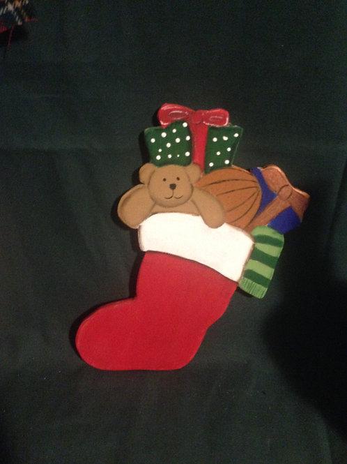Hand Painted Christmas Stocking Wreath Enhancement/ Door Hanger