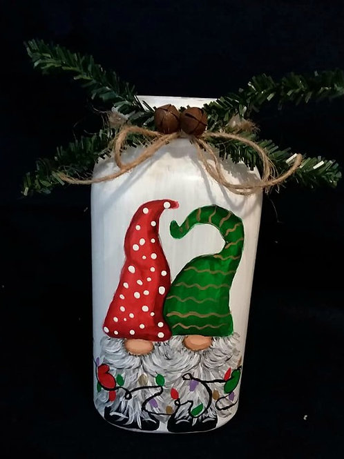 Hand painted Quart sized Gnome jar