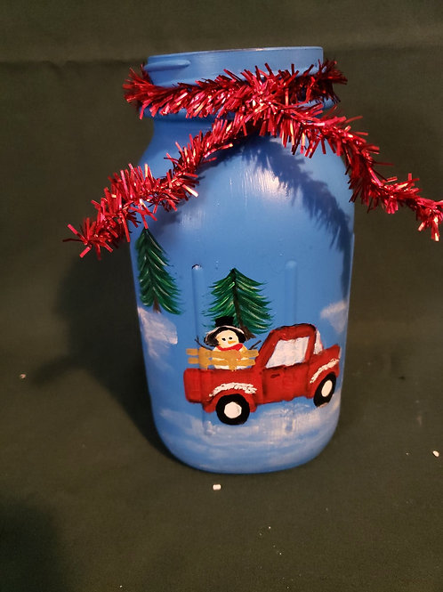 Little Red Truck Hand-painted mason jar