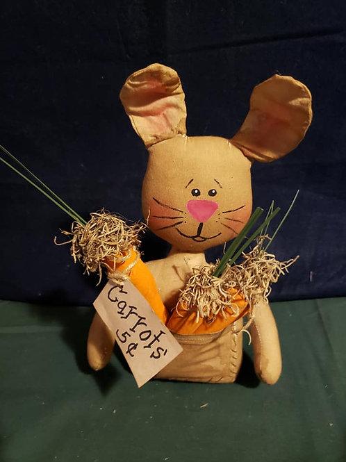 Folk Art Bunny with pocket full of Carrots