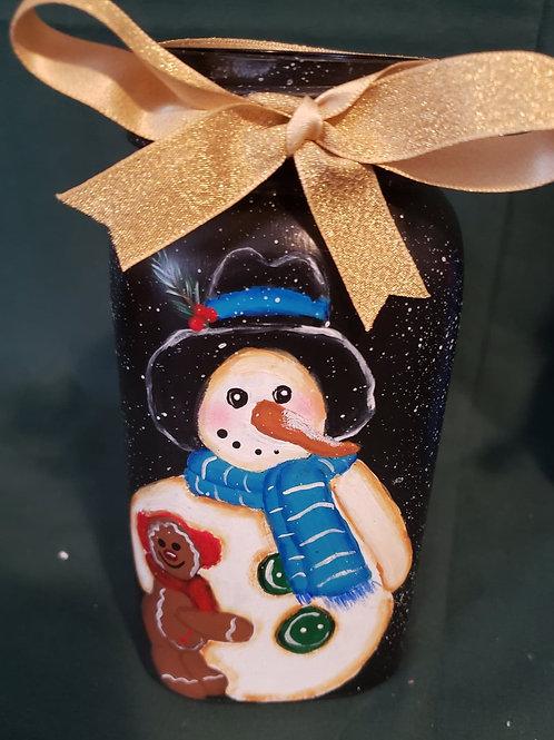 Hand painted quart-sized mason jar Snowman and gingerbread man