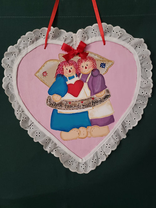 Hand-painted Best Friends Heart with Raggedy Ann's