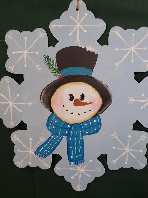 Hand painted snowflake snowman  Wreath Enhancement/Door hanger