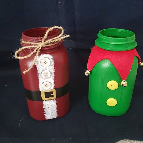 Santa and Elf Quart sized Hand Painted Mason Jars