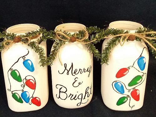 "Set of 3 Hand Painted Quart Mason Jars ""Merry & Bright"""