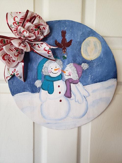 Snow in Love Round Door Hanger