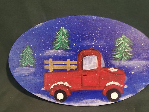 Hand painted little red truck wreath enhancement wall hanging