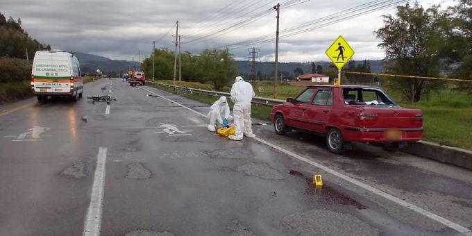 Un ciclista fallecido y otro lesionado dejó accidente en la vía Tunja-Duitama