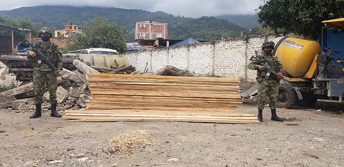15,5 metros cúbicos de madera fueron incautados en Boyacá