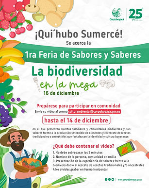 La biodiversidad de Boyacá estará presente en la 1ra Feria Virtual de Sabores y Saberes