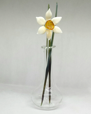 Glass daffodil in vase