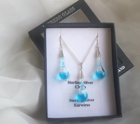 Acid drop, blown glass liquid necklace and earring set