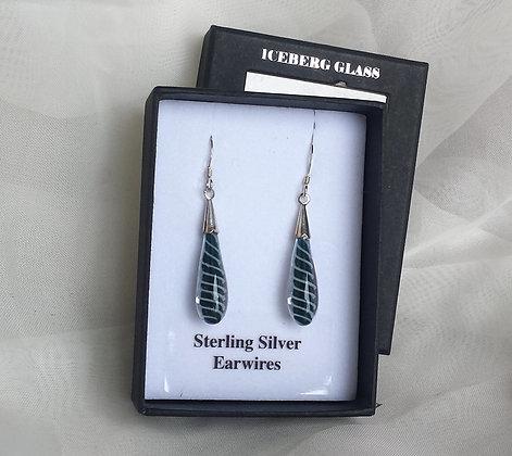 Glass fire twist teardrop earrings, spiral earrings, double helix glass