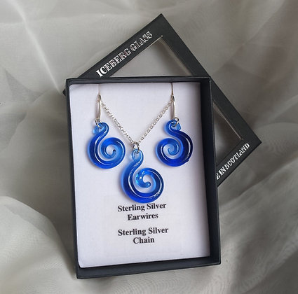 Glass spiral jewellery, spiral necklace, spiral earrings, silver spiral jewellery