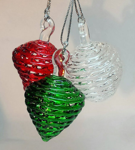 Christmas cone and snowballs, tree decorations, glass bauble
