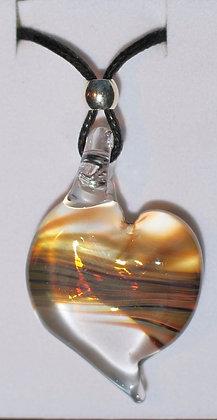 Glass heart pendant, marbled glass heart, heart necklace, glass heart