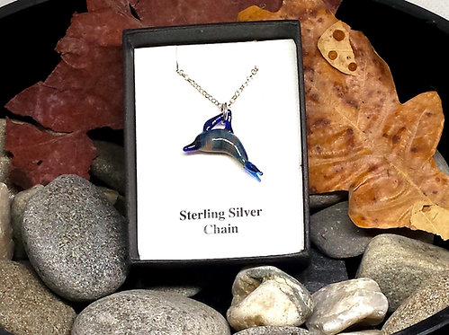 Glass dolphin necklace, doling jewellery, silver dolphin necklace