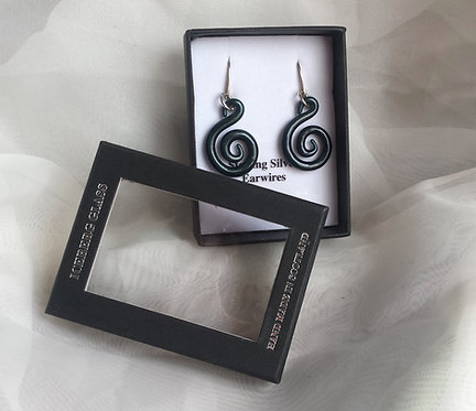 Glass spiral earrings, Hand made spiral earrings, silver spiral jewellery