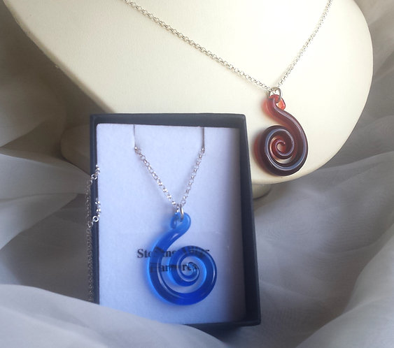 Glass spiral necklace, lamp worked glass spiral, silver spiral jewellery