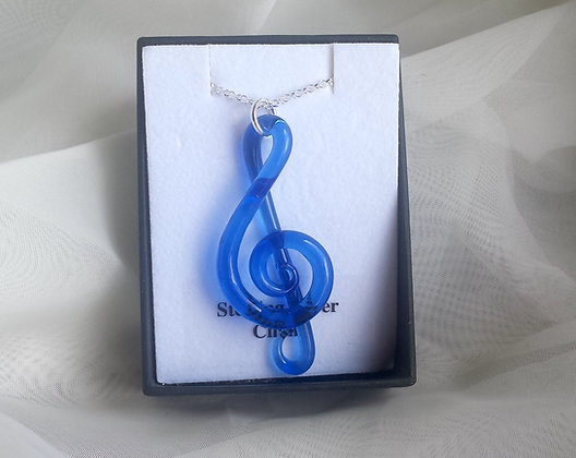 Glass treble clef necklace, hand made glass treble clef, treble clef jewellery, sterling  silver treble clef