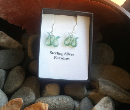 Glass Nessie earrings, Loch Ness monster earrings, Silver Nessie jewellery