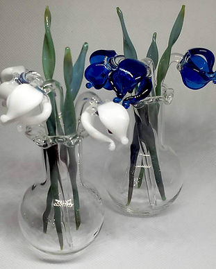 Glass flowers in vase