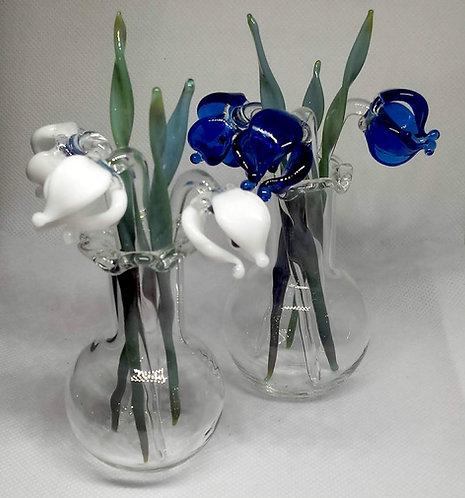 Glass Bluebells, Glass snowdrops in vase